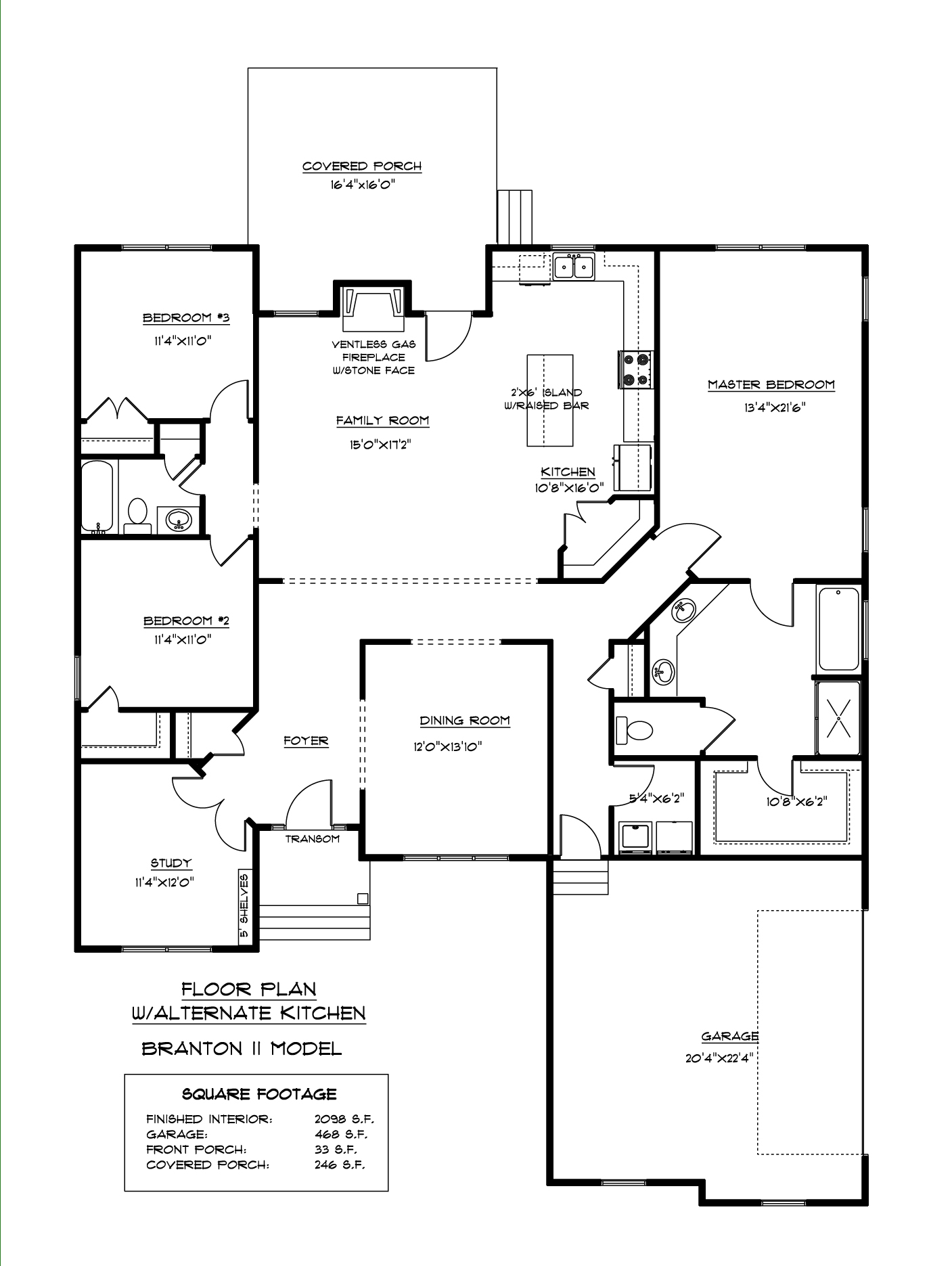 Branton II Alternate Kitchen Floor Plan AB Homes Suffolk VA