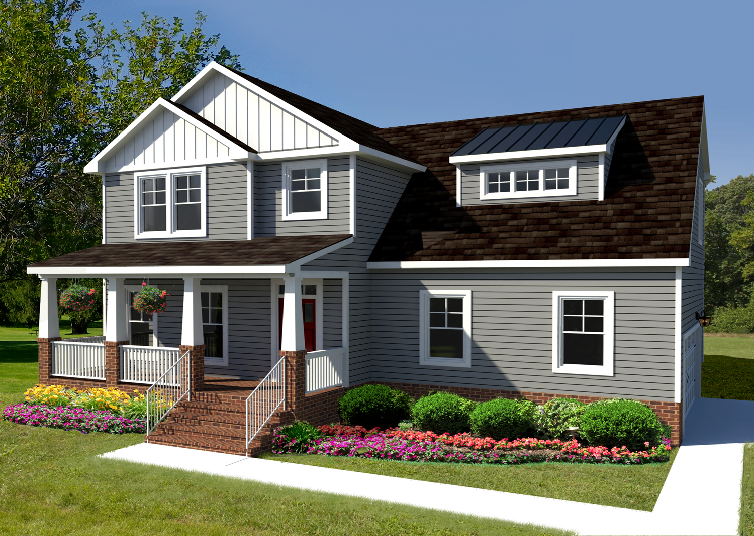 AB Homes' The Carter floor plan rendering in gray with grass