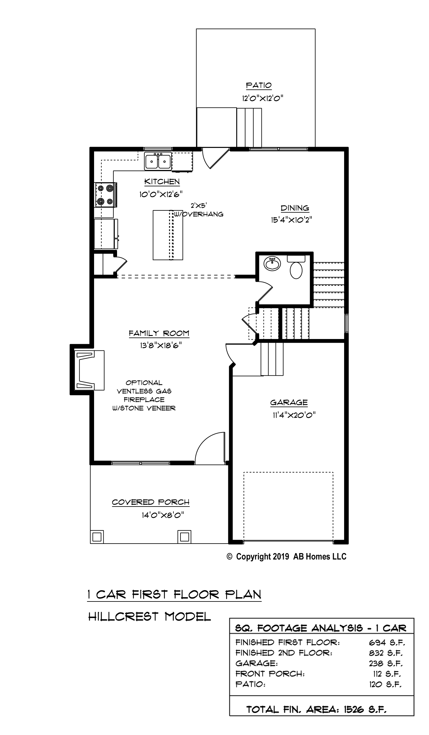 AB Homes The Hillcrest Floor Plan new home builder