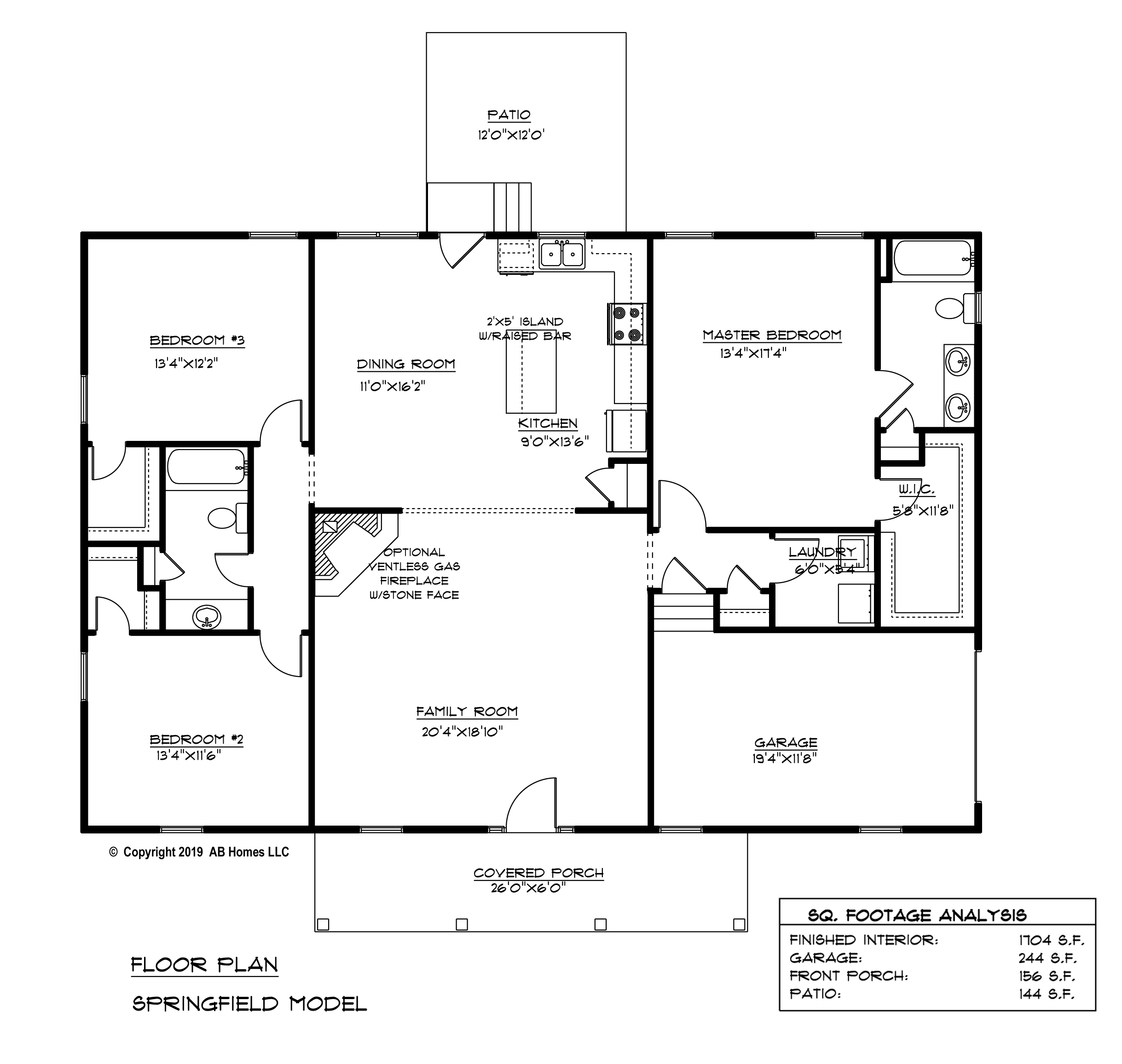 AB Homes The Springfield Floor Plan new home builder