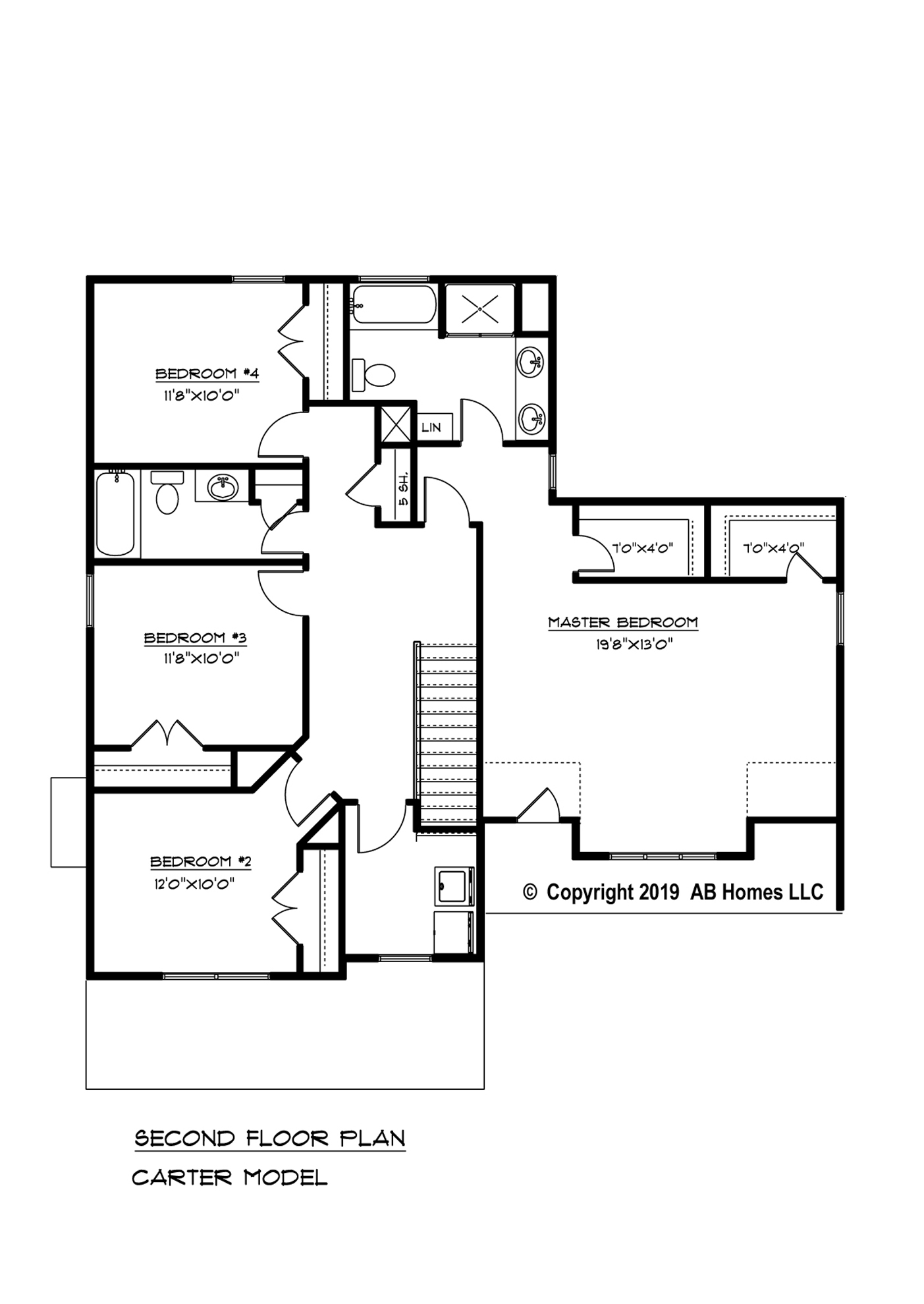 AB Homes The Carter Floor Plan new home builder 2nd floor