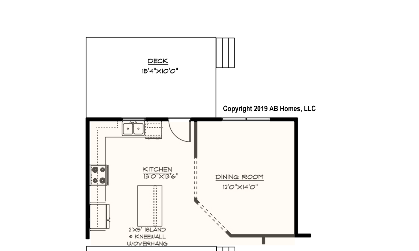 AB Homes The Carter Floor Plan new home builder 1st floor expanded kitchen