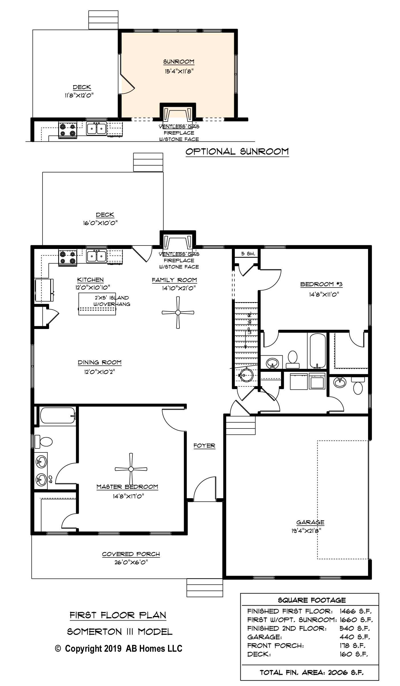 AB Homes The Somerton III 1st Floor Plan new home builder