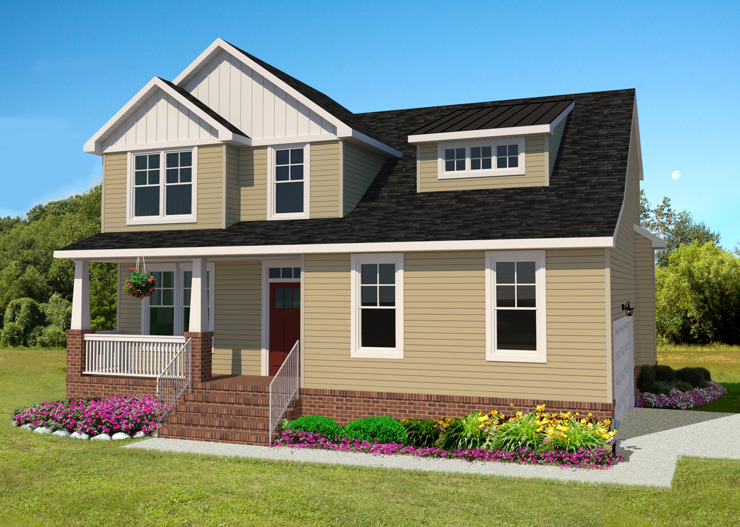 The Holland floor plan by AB Homes featuring two stories with tan siding and white trim with flowers and landscaping