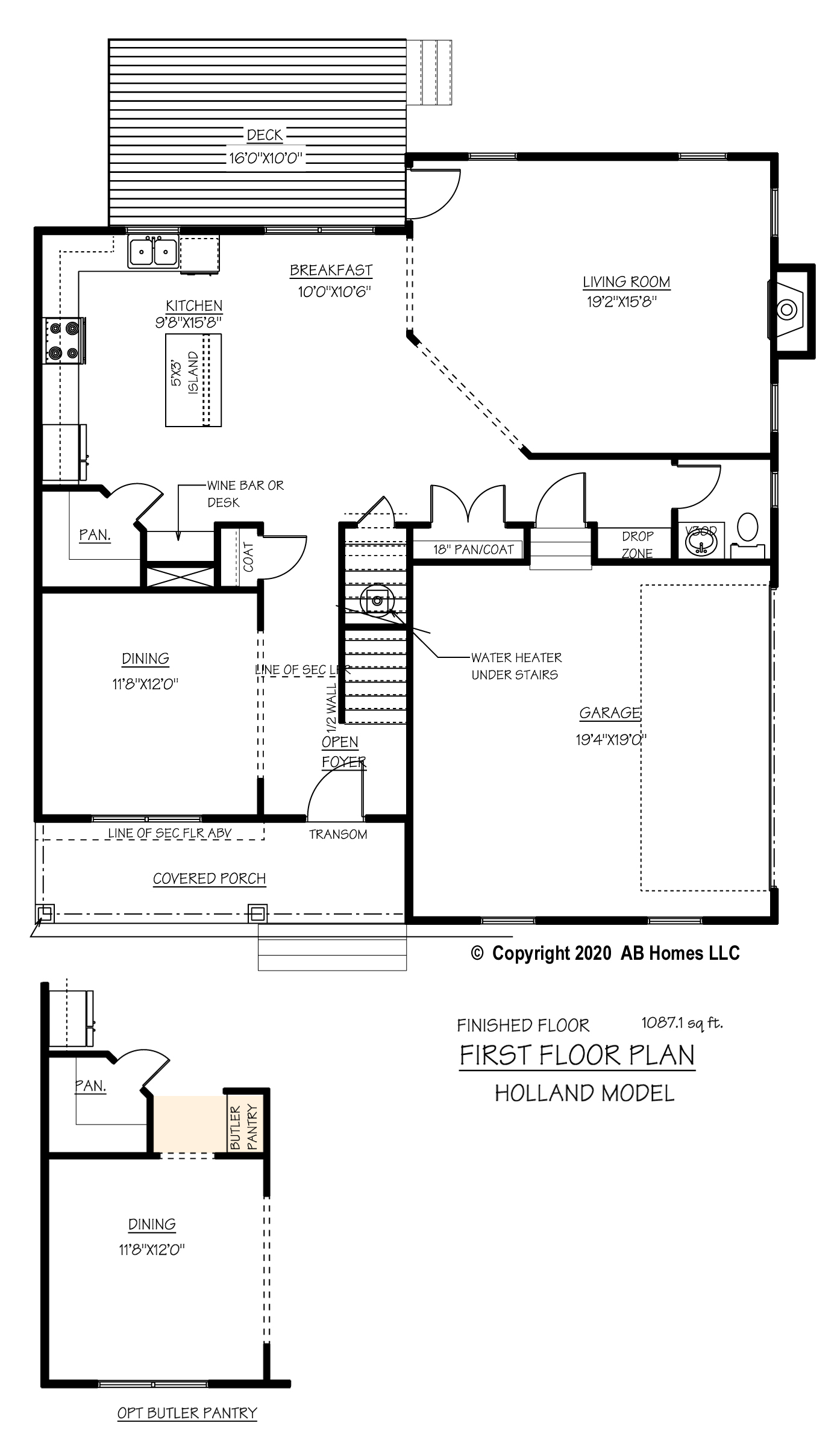 The Holland first floor plan and alternate butler panty into the dining room floor plan by AB Homes