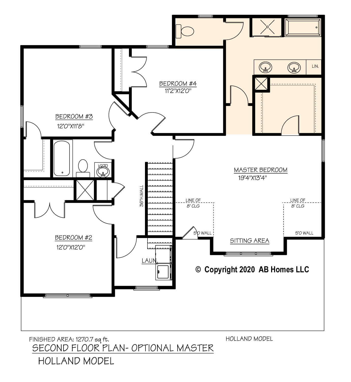The Holland alternate second floor plan by AB Homes