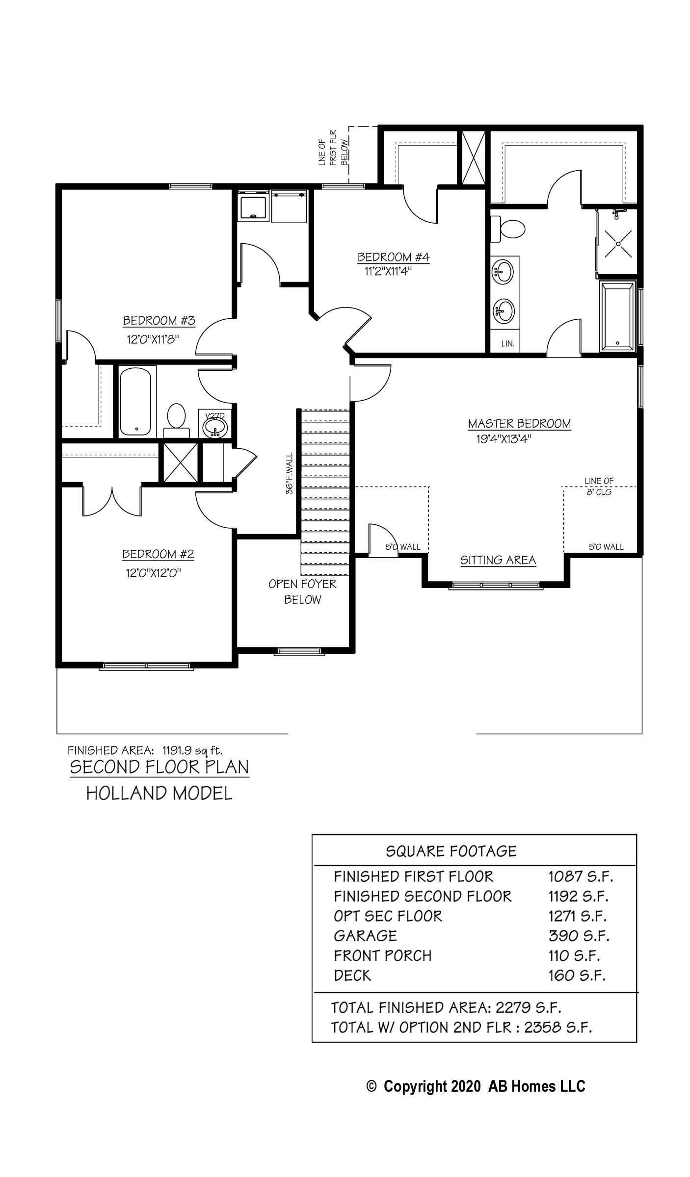 The Holland second floor plan by AB Homes