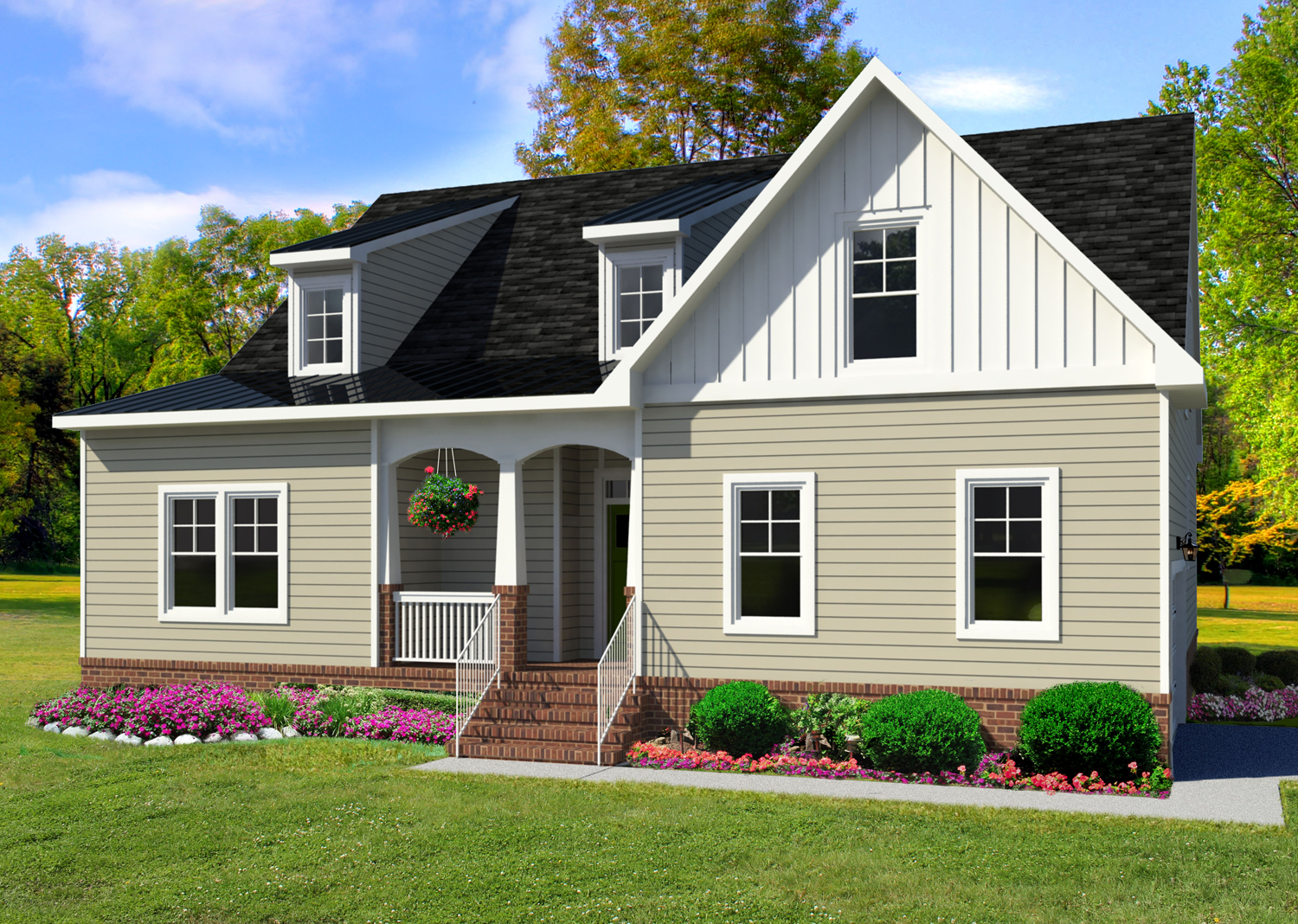 The Evergreen Model custom new home Suffolk VA with AB Homes with tan siding and white trim