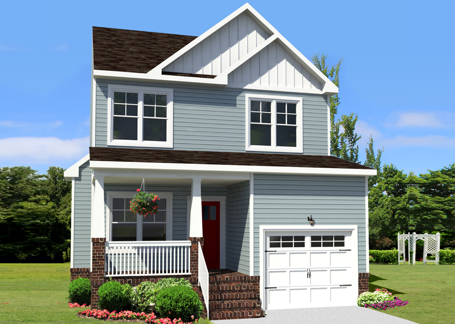 The Hillcrest Model custom new home Suffolk VA with AB Homes with blue siding and white trim