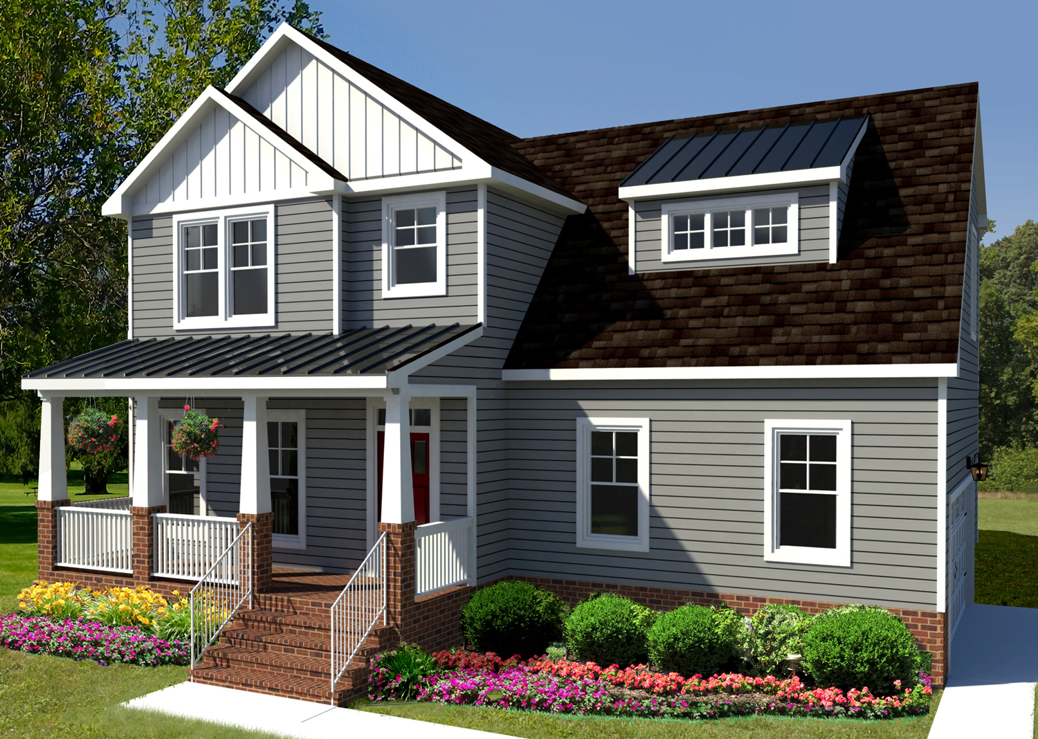 The Carter floor plan model by AB Homes with gray siding and white trim
