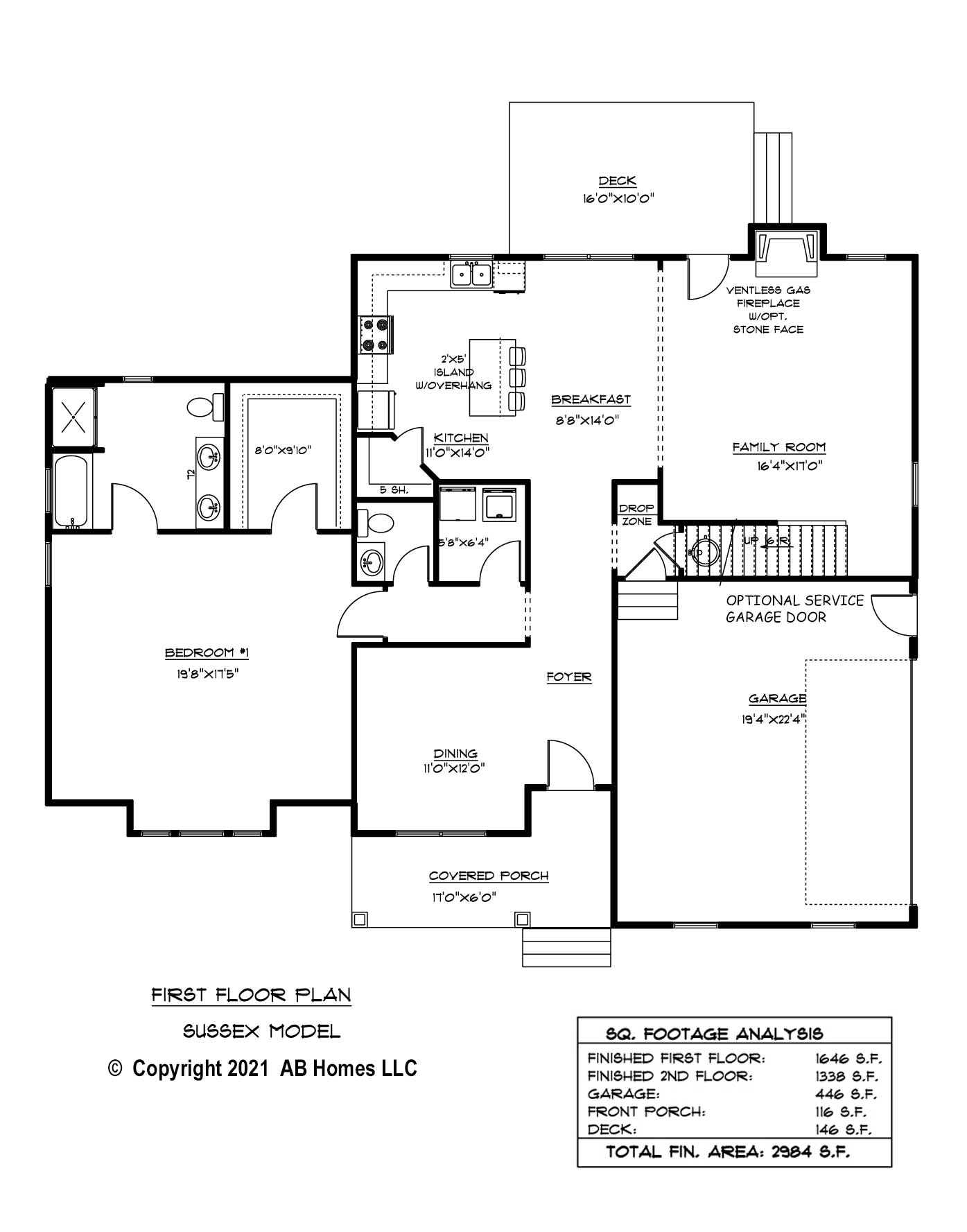 AB Homes The Sussex 1st Floor Plan new home builder