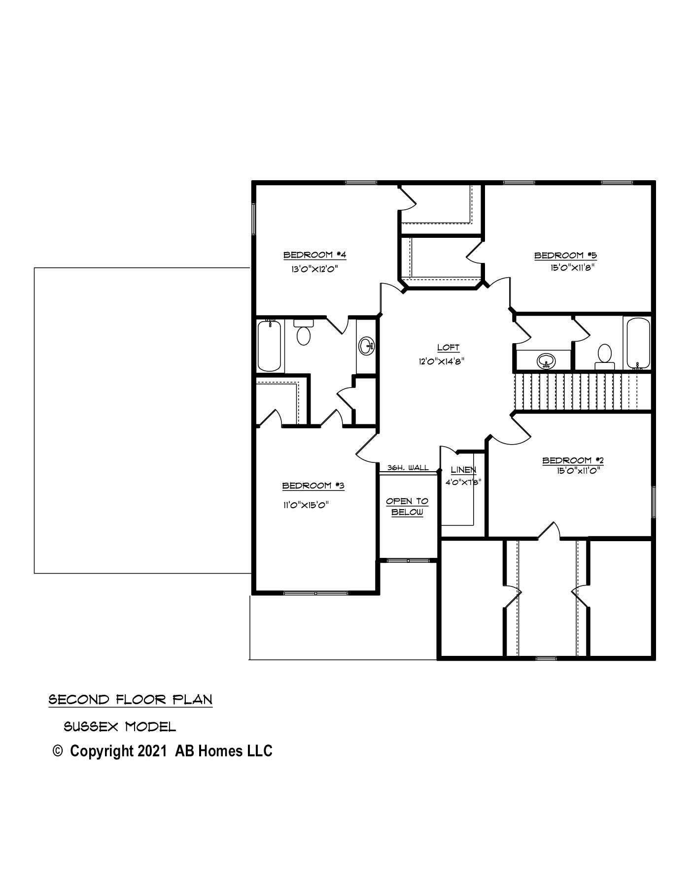 AB Homes The Sussex 2nd Floor Plan new home builder